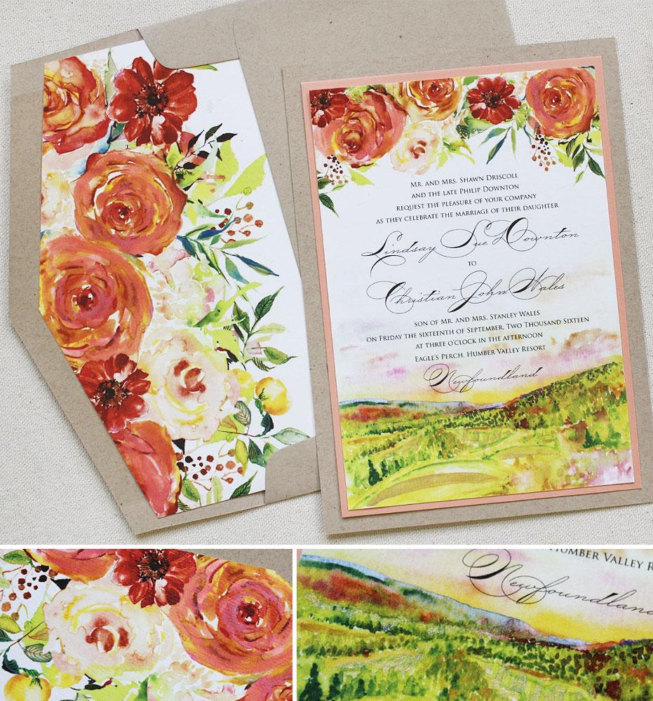 A Peek Into The Studio Fall Wedding Invitations