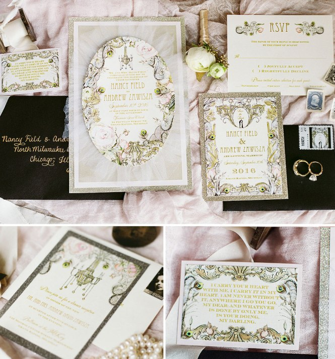 Silver Wedding Invitations With Polka Dots Glam In Vintage Typography