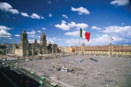 The Catedral Metropolitans is the largest cathedral in the Americas and was built between the 16th and 18th centuries atop a sacred Aztec site. It towers over Mexico City's grand Zocalo (square) and the Centro Historico. The streets where Jews lived and worked surround the Zocalo.
