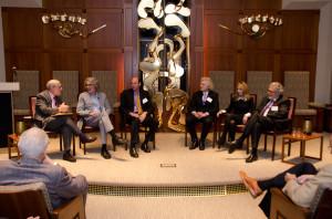 From left: Robert Siegel, Bob Mankoff, Barton Rubenstein, Steven Pinker, Rebecca Newberger Goldstein and Leon Fleisher discussing creativity and the brain.