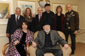 Rabbi Harold S. White, Nadine Epstein, Robert Siegel, Tom Paxton, Debroah Tannen, David Amram and Aimee Ginsburg Bikel and Theo Bikel on Nov. 14, 2014