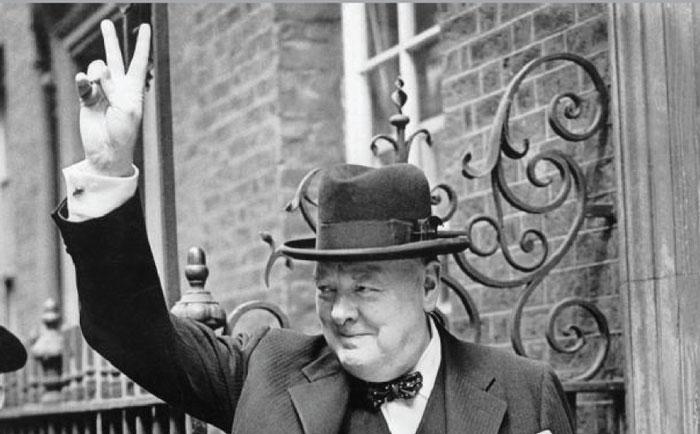 Winston Churchill Waving