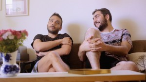 Khader Abu-Seif and ex-boyfriend David Pearl during Oriented in their Tel Aviv apartment. The pair were together four and a half years. (Photo courtesy of Oriented)