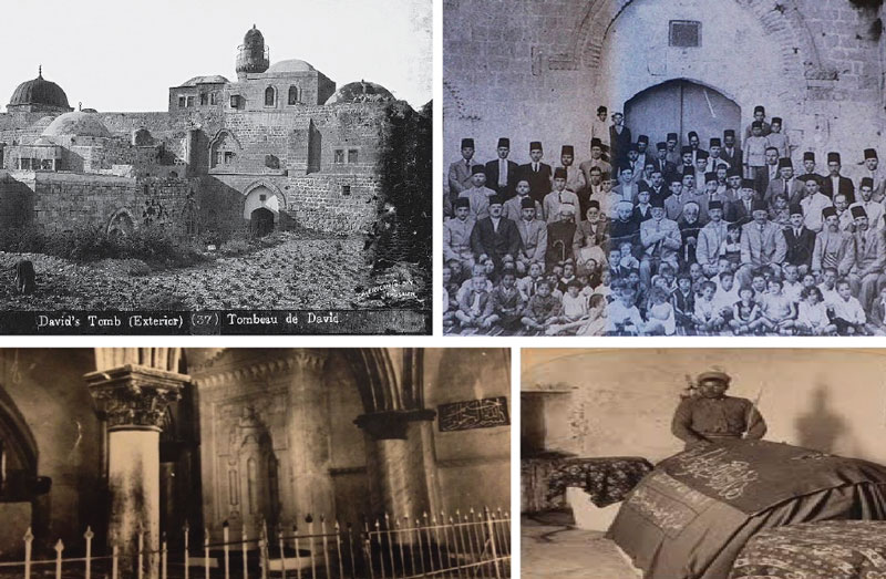 Top left: David's tomb complex during the Ottoman era. Top right: The Dajani Daoudi family on Mount Zion in 1936. Bottom left: The iron gate that separated Christians and Muslims who prayed in the Cenacle until 1948. Bottom Right: Until 1948, King David's tomb was covered by a cloth embroidered with verses from the Quran. © wiki commons;getty images; courtesy of the dajani family