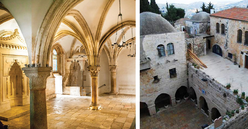 Left: Interior of the Cenacle on the second floor. Right: The interior courtyard with archways leading to King David's tomb.