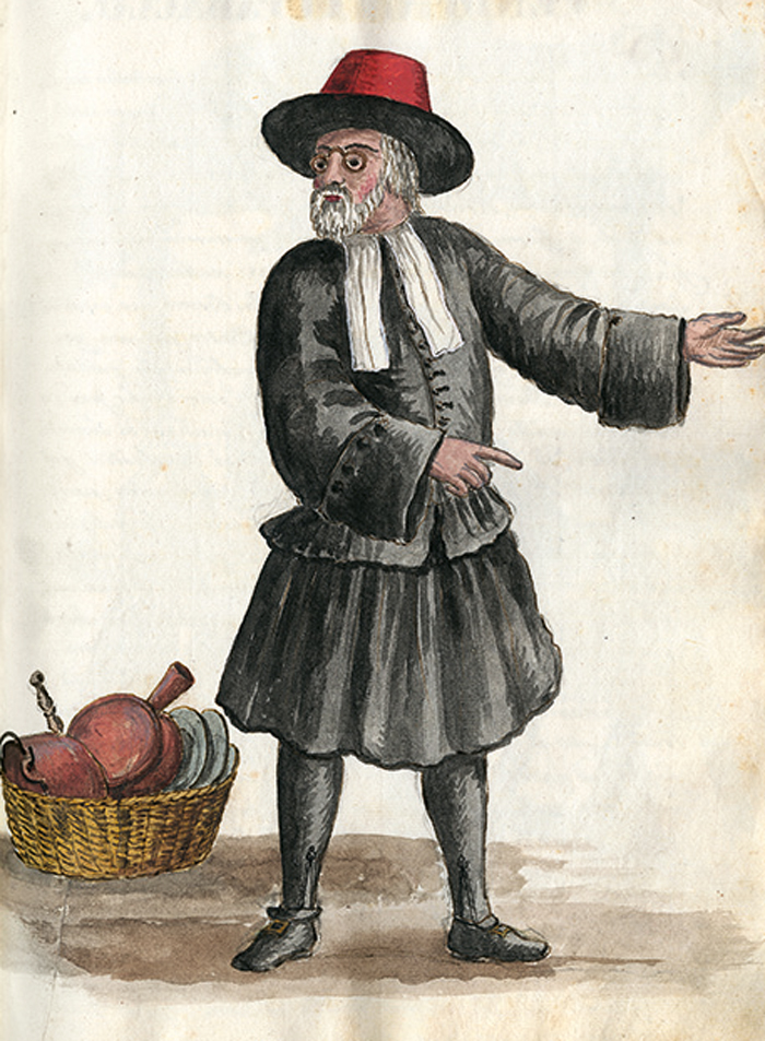 watercolor illustration of an Ebreo (Jew) from an 18th-century book by Giovanni Grevembroch illustrating various inhabitants of Venice and their dress—the basket of kitchenware alludes to his trade in second-hand goods. ©Venice, Biblioteca del Museo Correr, MS Gradenigo-Dolfin
