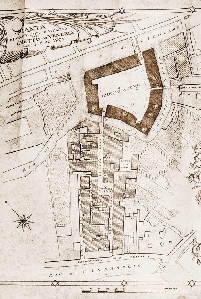 Plan of the Jewish Ghetto of Venice (1516–1997) by architect Guido Costante Sullam, late 19th century. ©. Roth, Venice, Philadelphia 1930