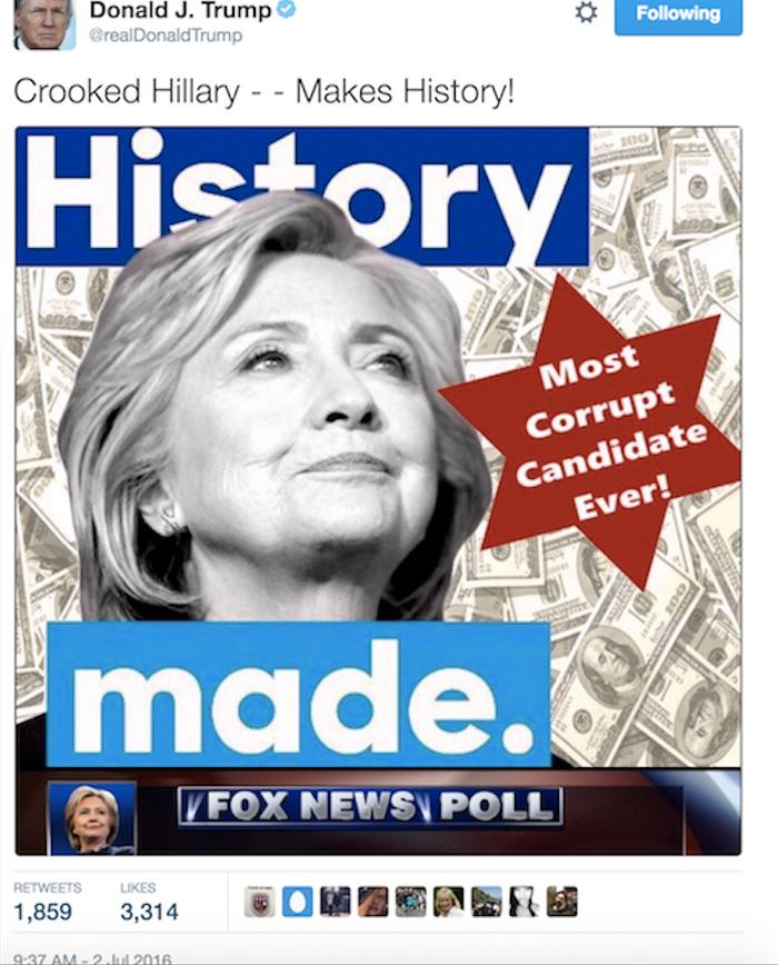 Trump anti-Semitic campaign ad against Hillary Clinton