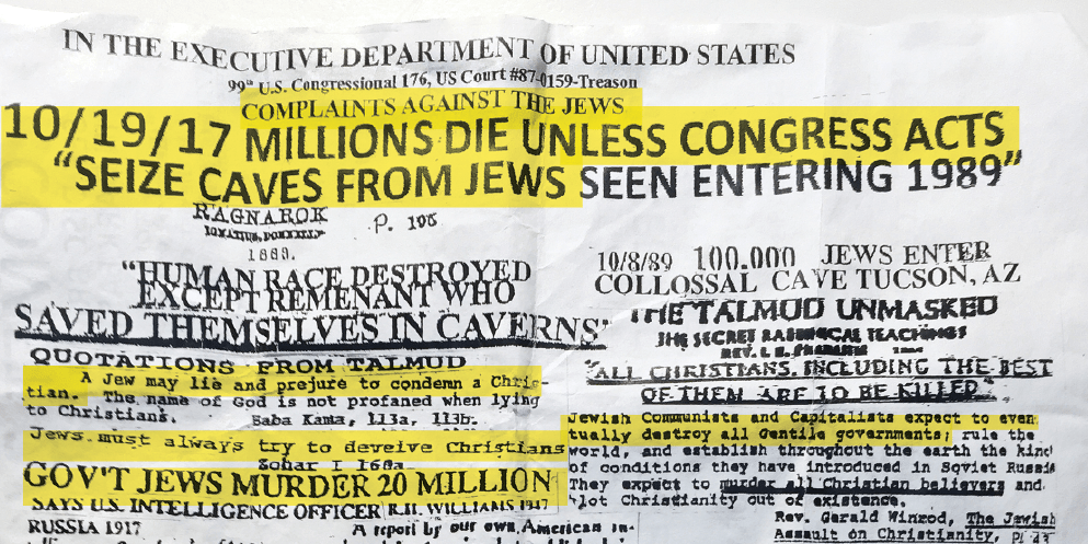 Part of an anti-Jewish flyer found on the street