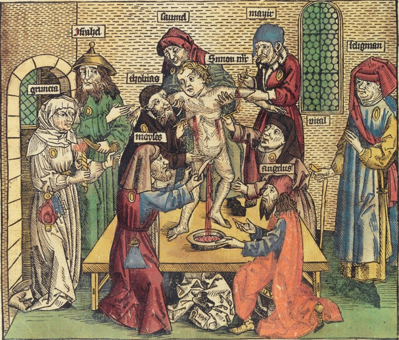 Woodcut from the 1493 Nuremberg Chronicle depicting the alleged ritual murder of an Italian boy