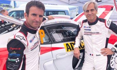 Dumas y Giraudet antes del shakedown con el Porsche Cayman R-GT