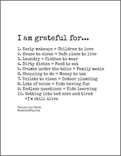 10 things mom is grateful for