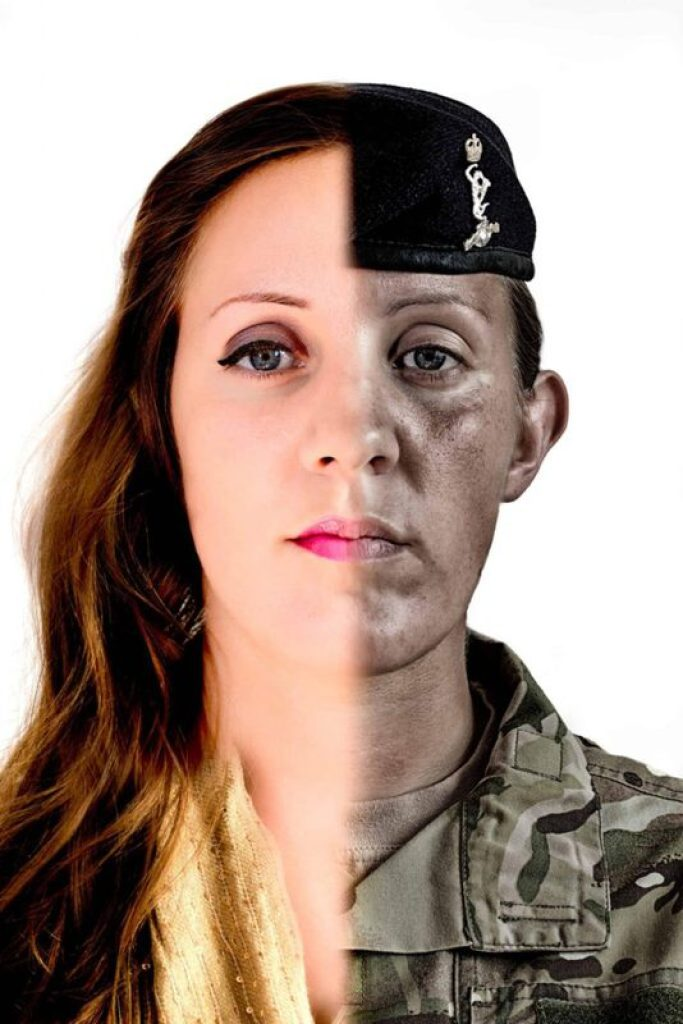 A self portrait of Katie Mitchell showing army and feminine side