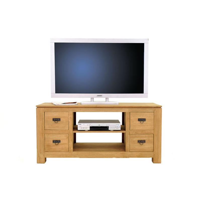 meuble bas pour tv 4 tiroirs couleur hevea naturalhuv matiere hevea dimension 125x58x45