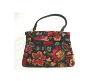 Vintage Floral Tapestry Chenille Carpet Bag Purse ...