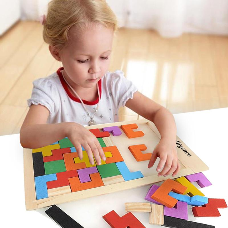 Colorful Wooden Intelligence Puzzle Game for Children – Momentures