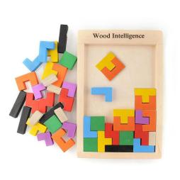 Colorful Wooden Tetris Puzzle Game