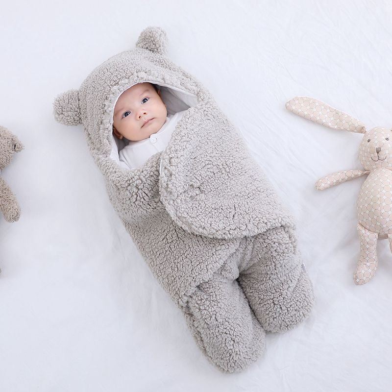BearSwaddle Winter Baby Hooded Blanket Wrap