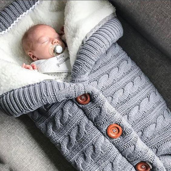 Extra Large Baby Winter Knit Swaddle Sleeping Bag Dark Grey