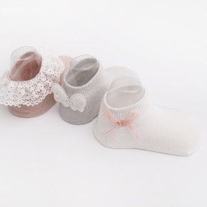 Anti-Slip Cotton Baby Socks For Girls with Lace and Flowers