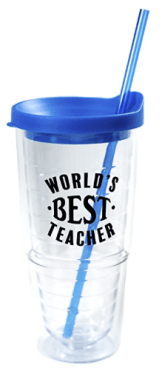Teacher Appreciation Gifts - World's Best Teacher Cup - Teacher Gifts & Gifts for Teacher Appreciation - Double Wall Solid Clear Acrylic Tumblers