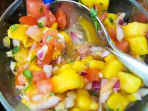 "Mango peach salsa ""with a kick"""