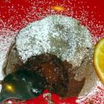 Individual molten chocolate cakes with orange zest