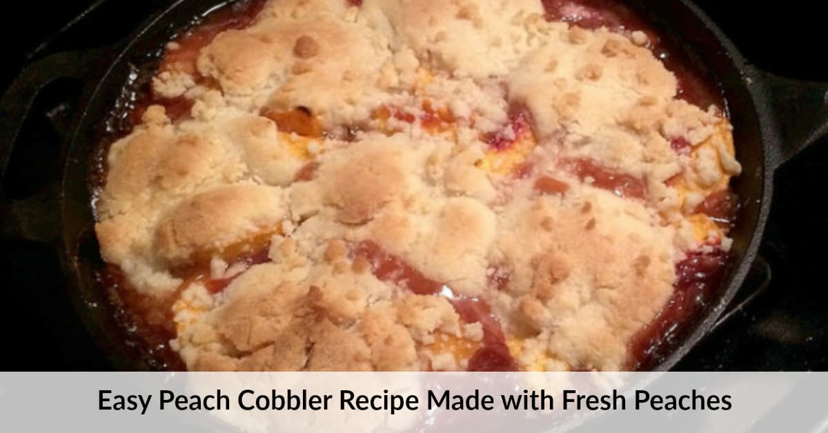 Peach Cobbler Made With Cake Mix And Canned Peaches
