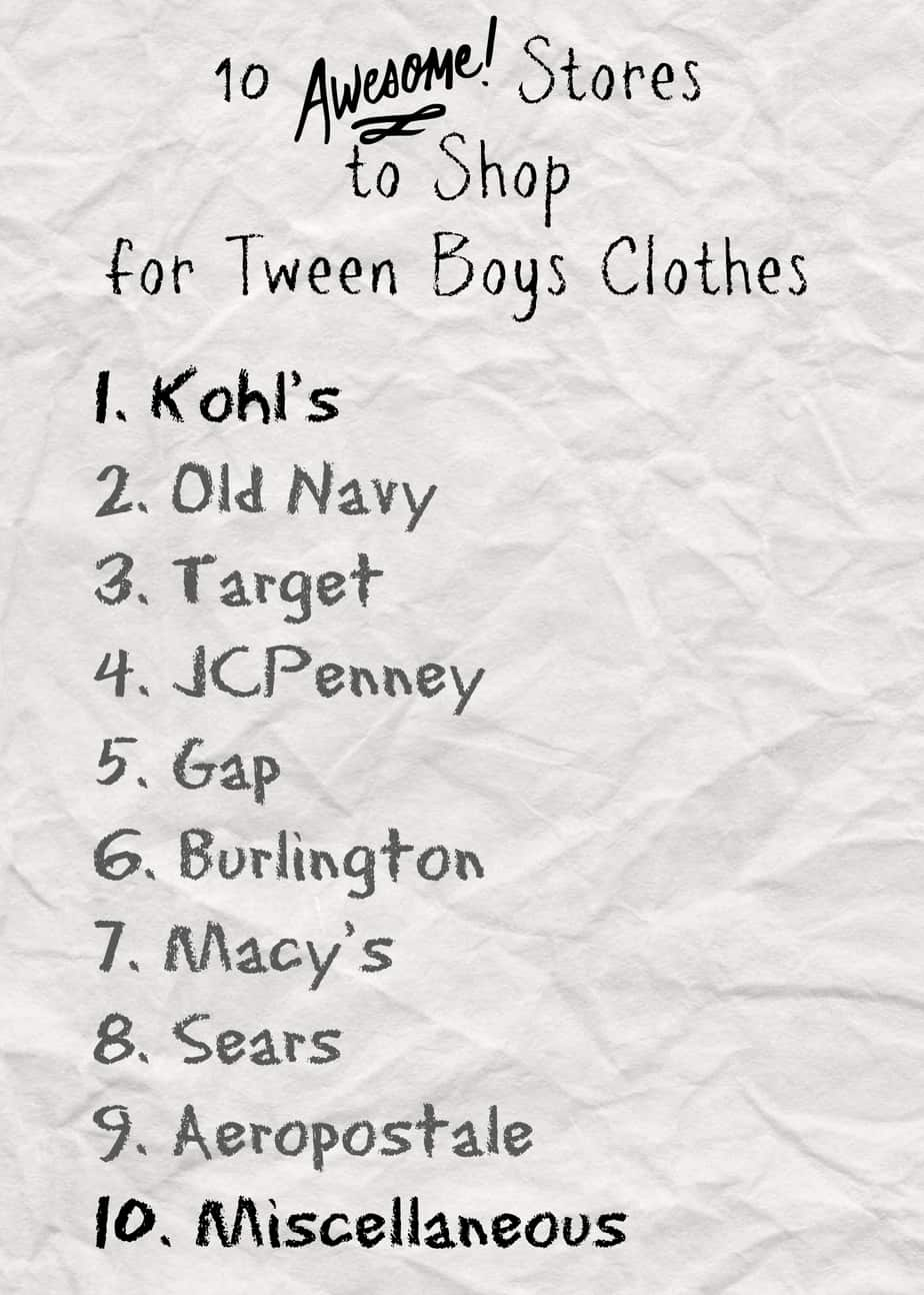 Tween fashion websites - Stores To Shop For Tween Boys Clothes