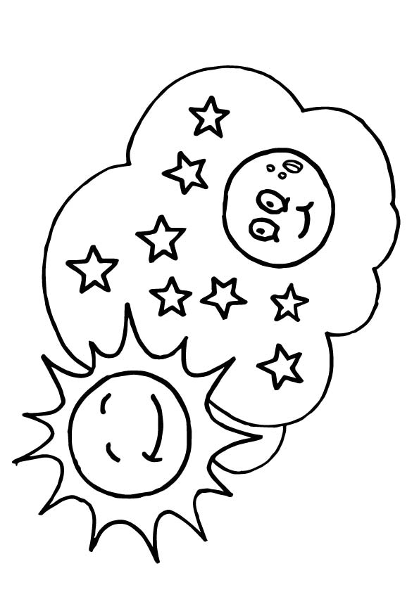 Sun, Stars & Moon Coloring Page Lessons, Worksheets and