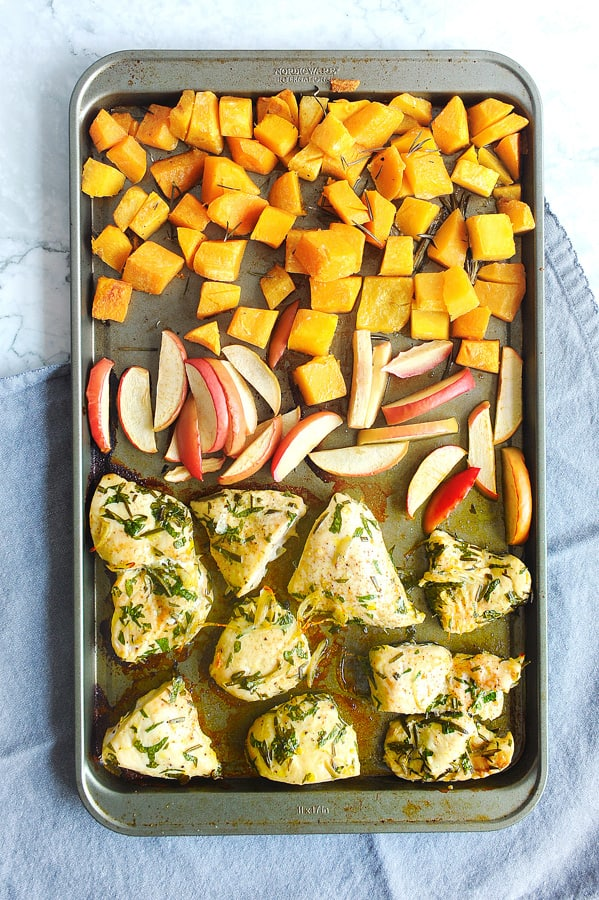 sheet pan chicken with fall flavors is a great recipe for how to cook chicken that is moist