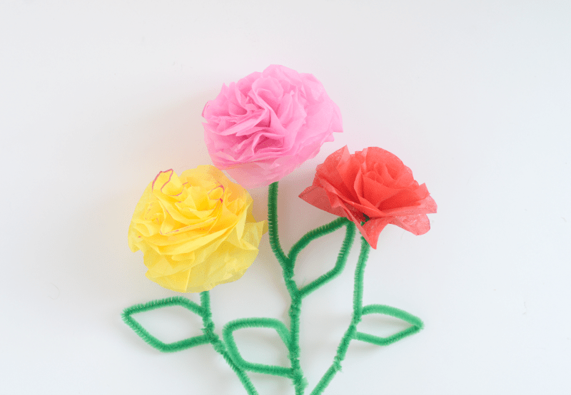 Indoor activities for kids: Tissue paper flowers!