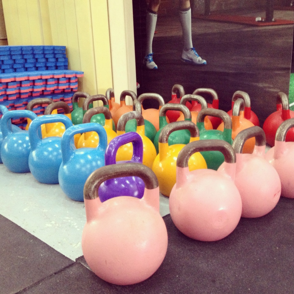Kettlebell weights are as follows: Pink-8 kilos, Blue-12 kilos, Yellow-16 kilos Red-32 Kilos