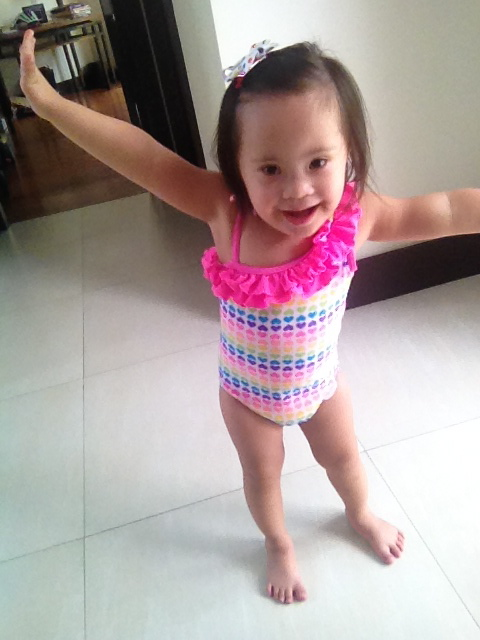 After lunch, baby girl took a nap. But doesn't she look super cute in her bathing suit that her Momma sent over?