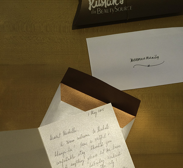 Checking in and having a gift from Laura Mercier and a note from Patti.