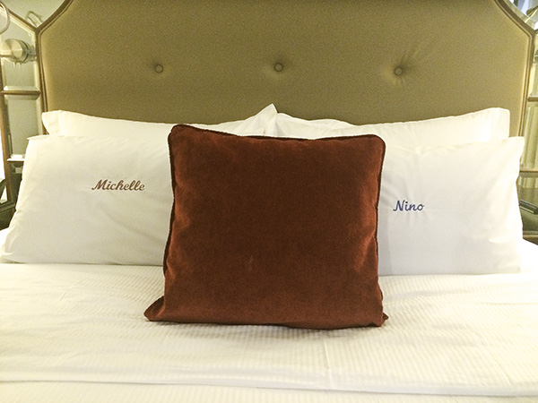 Notice: The pillows say Michelle and Nino. (not Michelle, Nino, Diego, and Gelli.)