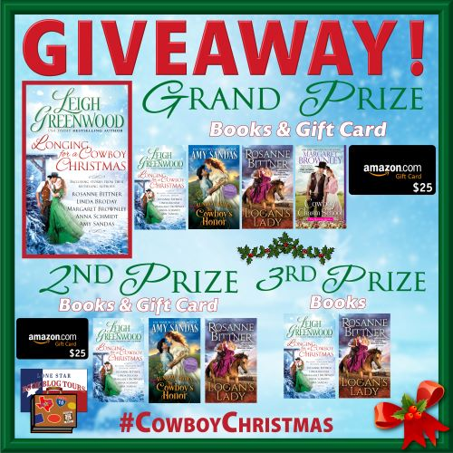 Giveaway prizes for Longing for a Cowboy Christmas