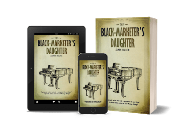 images of book cover of The Black-Marketer's Daughter on mobile, Kindle, and paperback