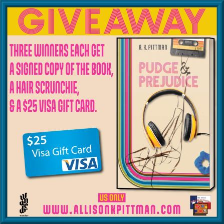 Image of blog tour giveaway for Pudge And Prejudice. Each of three winners get a copy of the book, a hair scrunch, and a $25 gift card