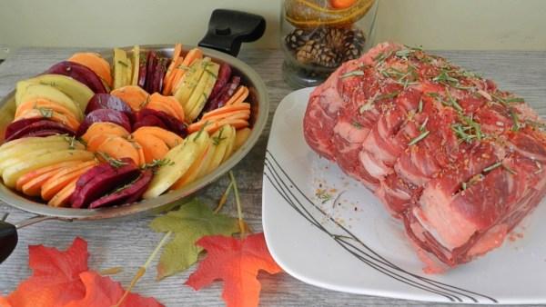 Garlic & Herb Prime Rib and Roasted Potatoes & Beets