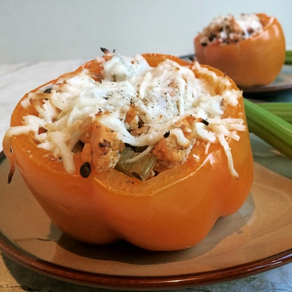 Buffalo Chicken & Lentil Stuffed Pepper