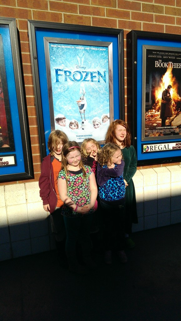 It was sunny, but freezing, when we saw Frozen.