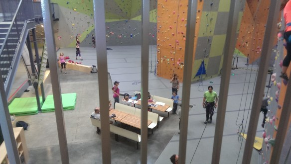 Homeschoolers who were not in our class, but working on their lessons between climbs. That's quite a classroom.