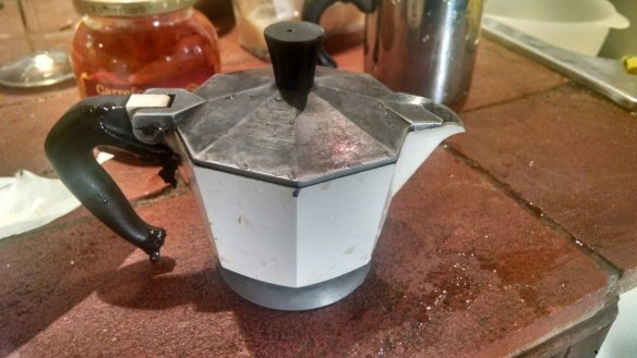 The top of the mocha pot. This is where the finished coffee ends up.