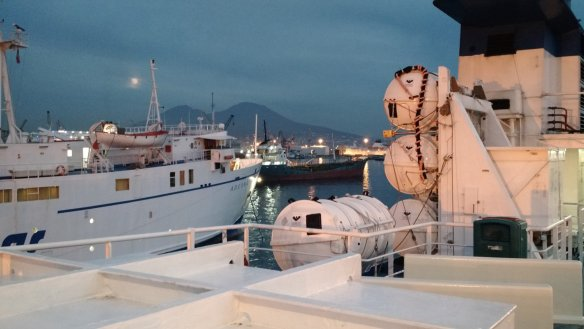Lots of ferries heading out of Naples (Napoli.)