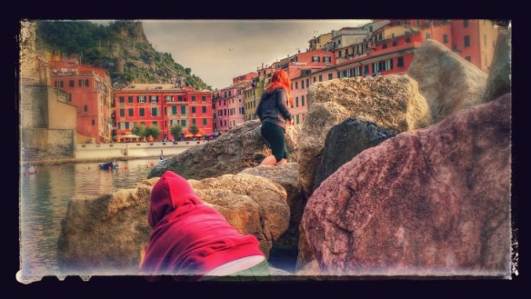 Climbing on the rocks in Cinque Terre