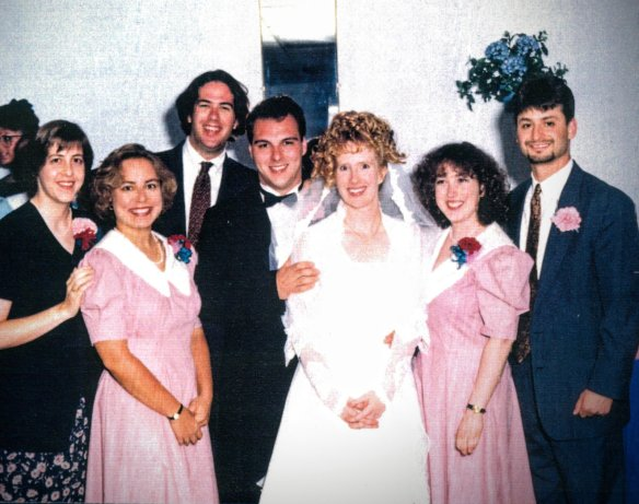 Our wedding in 1995 with the Williams Crew.