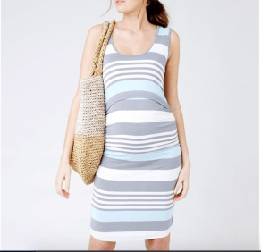 Sleeveless summer maternity dress, grey and teal
