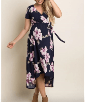 Short-sleeve floral maternity dres