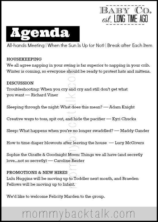 Baby Meeting Agenda